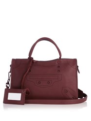 Balenciaga Blackout City Small Leather Bag Burgundy