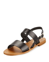 Neiman Marcus Made In Italy Carla Leather Slingback Sandal Black