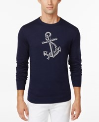 Club Room Anchor Crew Neck Sweater Only At Macy's Navy Blue