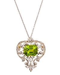 Estate Edwardian Peridot Scroll Pin Pendant Necklace