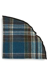 Alexander Olch Men's 'Isaac' Plaid Wool Pocket Round Blue Multi