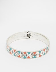 Asos Bangle With Geometric Design In Silver Burnished Rhodium
