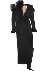 Ronald Van Der Kemp Two Piece Ruffled Plisse Silk Chiffon And Organza Gown Black