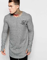 Sik Silk Siksilk Longline Long Sleeve Fitted T Shirt Grey
