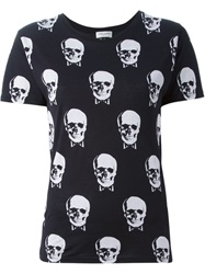 Saint Laurent Skull Print T Shirt Black