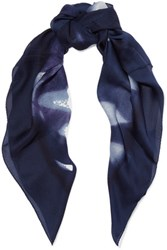 Halston Heritage Printed Silk Scarf Midnight Blue