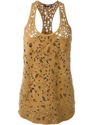 Roberto Cavalli Cut Out Sleeveless Top Brown