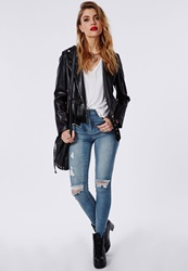 Missguided Edie High Waisted Ripped Skinny Jeans Bleached Blue Blue