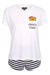 Topshop Petite French Toast Pyjama Set White