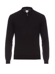 Brioni Zip Up Wool Sweater Navy
