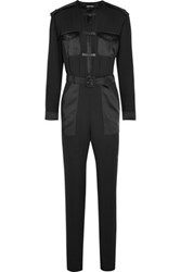 Tom Ford Leather Trimmed Silk Georgette Jumpsuit Black