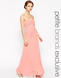 Jarlo Petite Claudia Ruched Bandeau Maxi Dress Pink