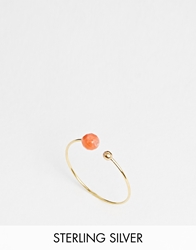 Asos Limited Edition Sterling Silver Gold Plated Ring With Metal Ball Coral
