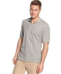 Club Room Short Sleeve Solid Estate Performance Polo Light Grey Heather