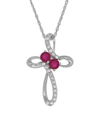 Lord And Taylor Ruby White Sapphires Silver Pendant Necklace Red