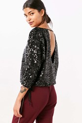 Silence And Noise Donna Sequin Boat Neck Top Black