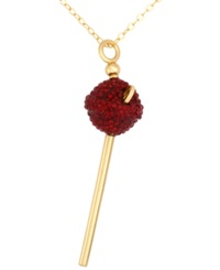 Sis By Simone I Smith 18K Gold Over Sterling Silver Necklace Red Crystal Mini Lollipop Pendant