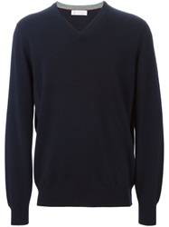 Brunello Cucinelli V Neck Sweater Blue