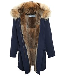 Yves Salomon Classic Rabbit Fur Lined Nylon Parka Navy Blue Brown