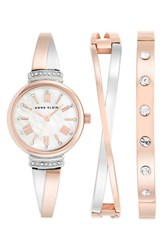 Women's Anne Klein Round Watch And Bangle Set 26Mm