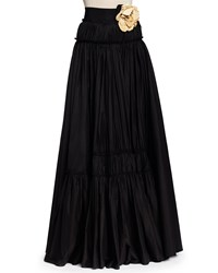 Lanvin Long Tiered A Line Skirt With Rosettes Black