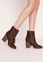 Missguided Tassel Side Ankle Boots Brown Brown