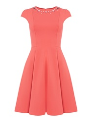 Untold Fit And Flare Cap Sleeve Dress Pink