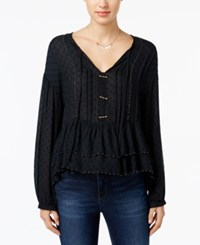 William Rast Devon Beaded Peasant Top Jet Black