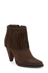 Women's Very Volatile 'Shakee' Fringe Bootie Brown Faux Leather