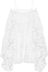 Chloe Off The Shoulder Crocheted Cotton Mini Dress White
