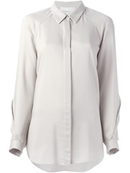 3.1 Phillip Lim Curved Lace Detail Shirt Grey