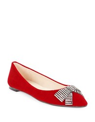 Karl Lagerfeld Rhinestone Bow Velvet Pointed Toe Flats Ruby Red