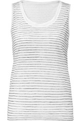 Majestic Striped Linen Tank Navy