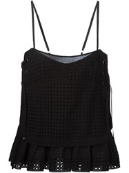 Diesel Black Gold Spaghetti Strap Perforated Top