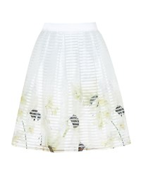 Ted Baker Fynthia Pearly Petal Mesh Midi Skirt Grey
