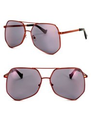 Grey Ant Megalast 61Mm The Wire Hexagon Aviator Sunglasses Red