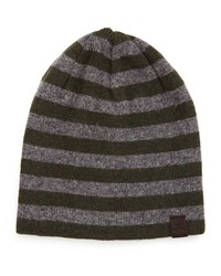Penguin Ashmore Striped Beanie Hat Rifle Gree