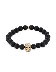 Northskull Matte Black Onyx Gold Skull Bracelet With Crystals