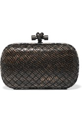 Bottega Veneta The Knot Watersnake Trimmed Intrecciato Karung Clutch Anthracite Snake Print