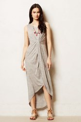 Anthropologie Knotted Jersey Maxi Dress Grey