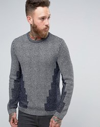Asos Cable Knit Jumper In Metallic Yarn With Rib Detail Silver Grey