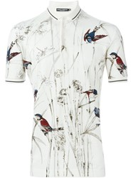 Dolce And Gabbana Bird Print Polo Shirt Nude And Neutrals
