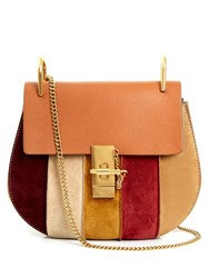 Chloe Drew Small Suede And Leather Cross Body Bag Tan Multi
