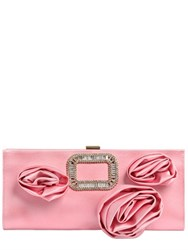 Roger Vivier Pilgrim Rose Silk Satin Clutch