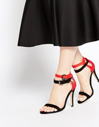 Ax Paris Kila Barely There Heeled Sandals Redblack