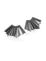 Giles And Brother Ray Fan Pave Crystal Earrings Silvertone