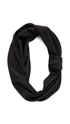 Jennifer Behr Silk Jersey Turban Headband Black