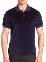 Opening Ceremony Velour Short Sleeve Polo Tee Ink