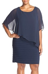 Plus Size Women's Adrianna Papell Chiffon Overlay Shutter Pleat Sheath Dress Eclipse