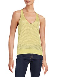 Zadig And Voltaire Mesh Rounded V Neck Top Limon
